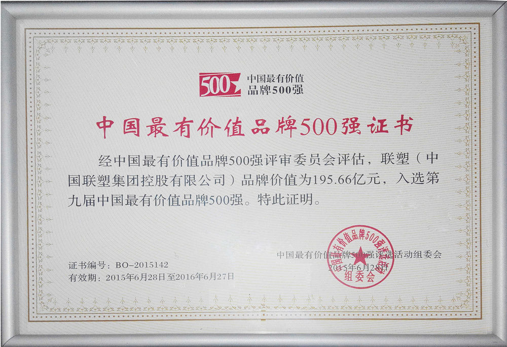 Lesso China's Top 500 Valuable Brand 2015